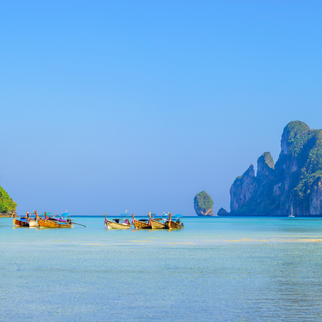 """""""Phi Phi Islands are a popular tour destination from Phuket and"""" stock image"""