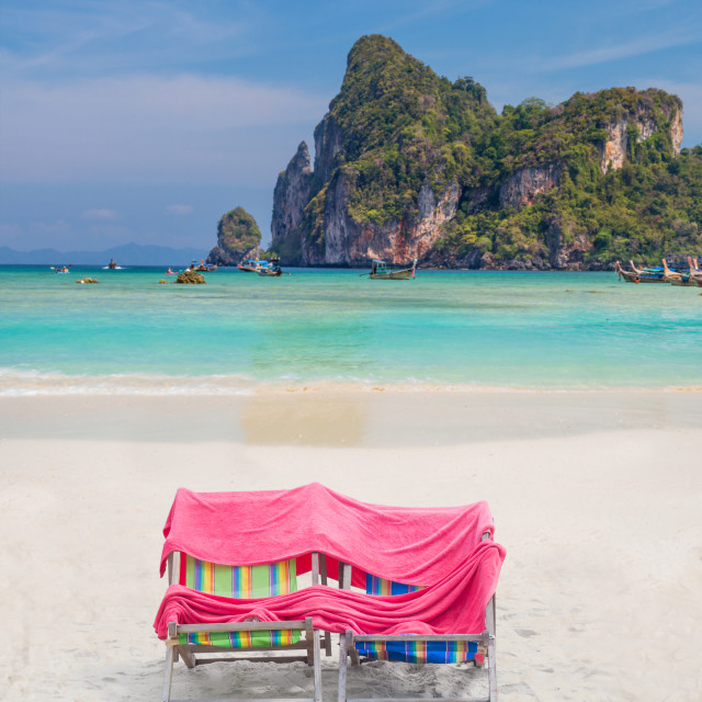 """""""Two Chairs on Phi Phi island beach"""" stock image"""