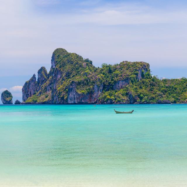 """Beauty beach and limestone rocks in Phi Phi islands"" stock image"