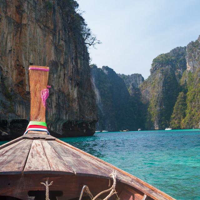 """Longtail boat in the famous Maya bay of Phi-phi Leh island"" stock image"