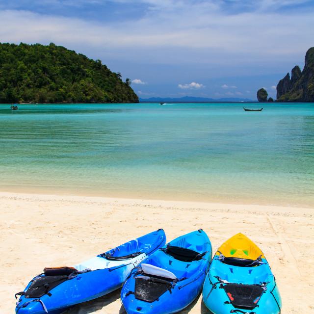 """kayaks at the tropical beach Kingdom Thailand"" stock image"