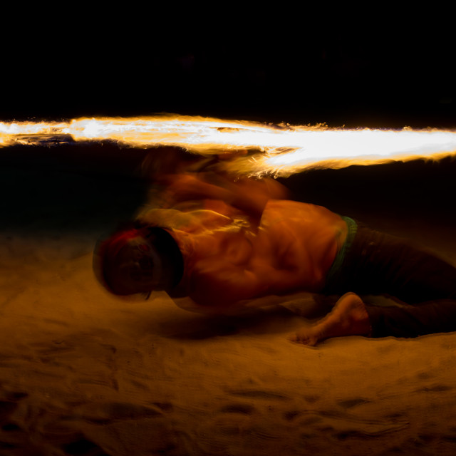 """""""Fire Show at night on Phi Phi Island, Thailand"""" stock image"""