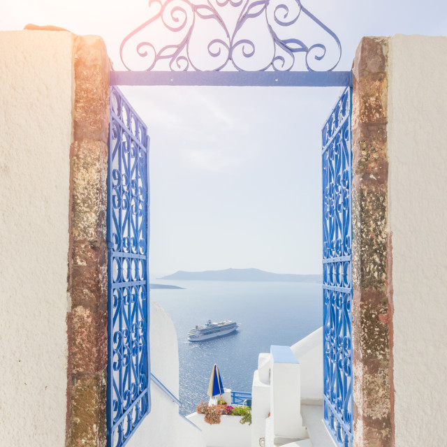 """View on Fira in Santorini"" stock image"