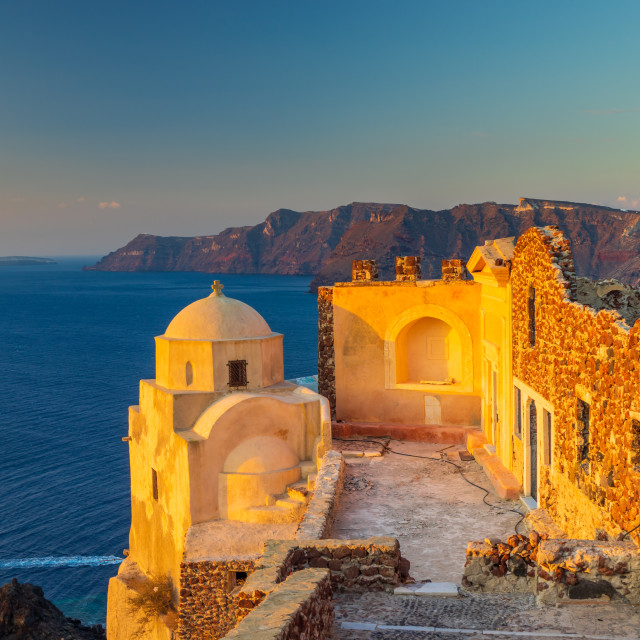 """The ruins of the Venetian castle in Oia Santorini G"" stock image"