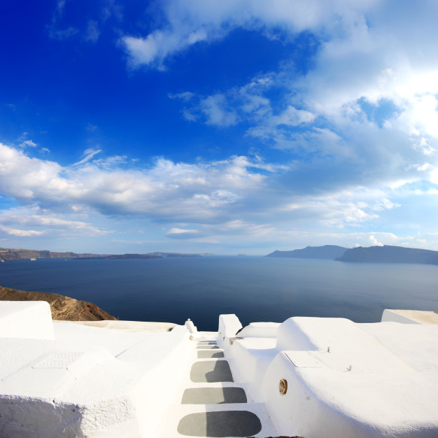 """Village of Oia at Santorini island in the Cyclades"" stock image"
