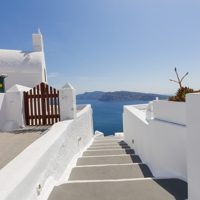 """View on Oia in Santorini"" stock image"