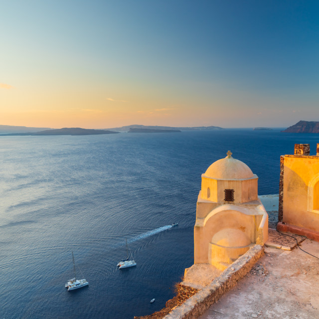 """The ruins of the Venetian castle in Oia Santorini"" stock image"