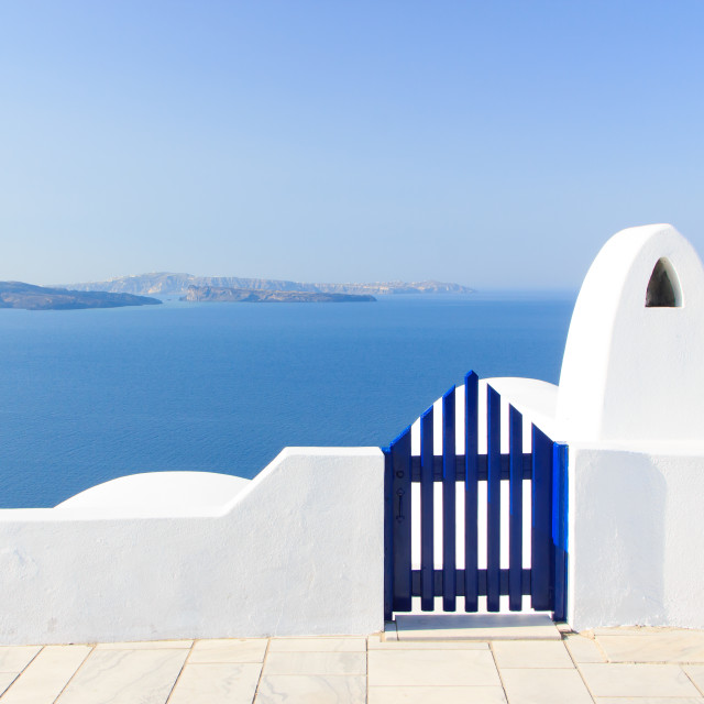 """Santorini balconny with view at the sea"" stock image"