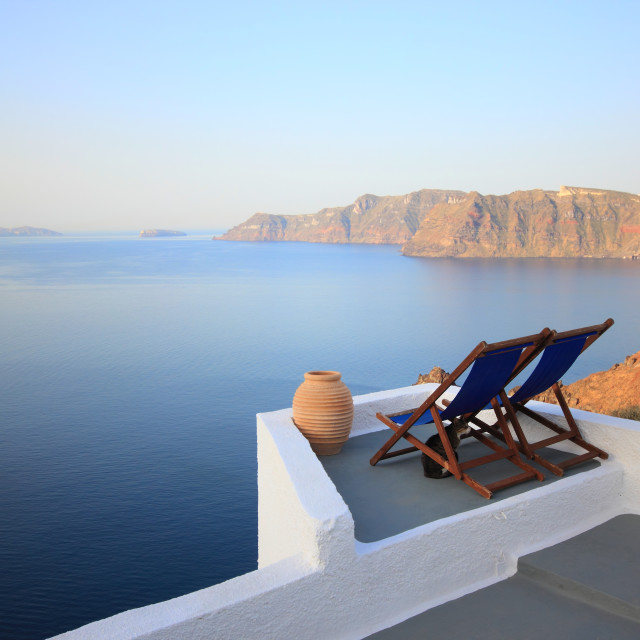 """View on caldera and sea from balcony, Santorini, Greece"" stock image"