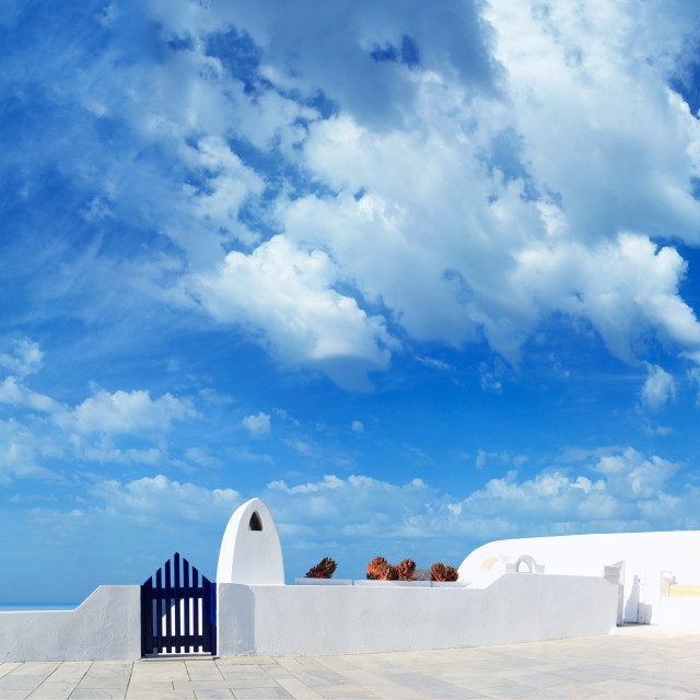 """Classical Greek architecture of the streets in Oia"" stock image"