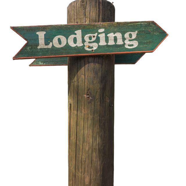 """Rustic Wooden Lodging Sign"" stock image"