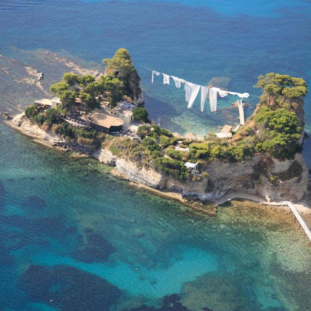 """Aerial view on Zakynthos island Greece - Cameo island Laganas"" stock image"