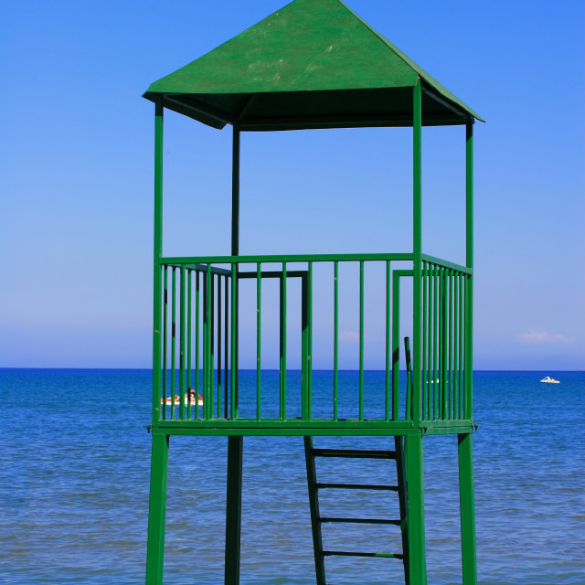 """""""Life Guard Stand in Laganas Zakynthos Greece"""" stock image"""