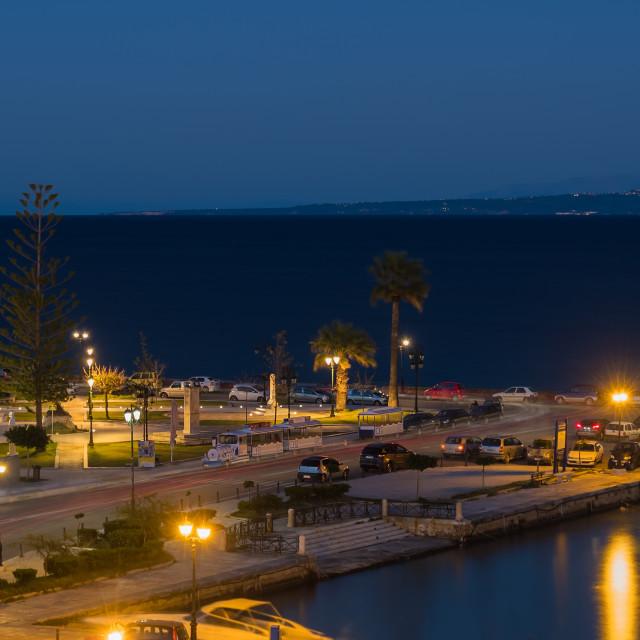 """sunset over in Zante town harbor, Zakynthos"" stock image"