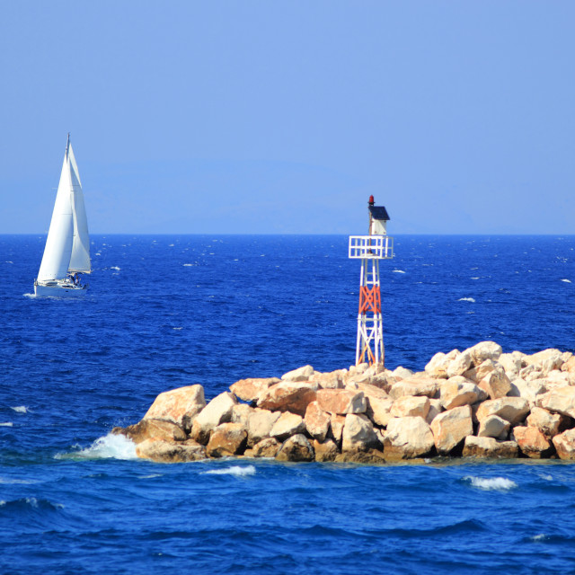 """""""Sailing in Greece around the Ionian islands"""" stock image"""