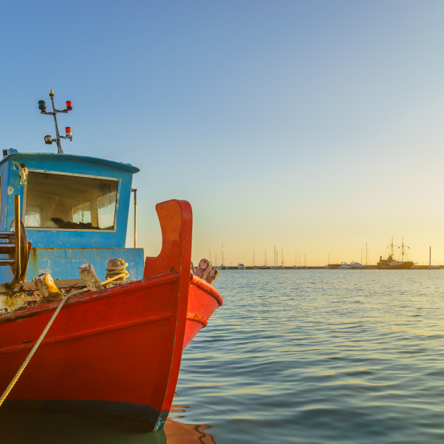 """""""wooden fishing boat moored in port of Zante town."""" stock image"""