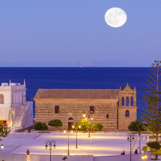 """Full moon over in Zante town harbor, Zakinthos"" stock image"