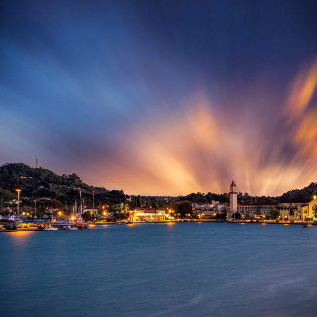 """""""sunset over in Zante town harbor, Zakinthos"""" stock image"""