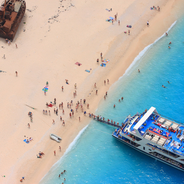 """The world famous beach Navagio in Zakynthos, Greece"" stock image"