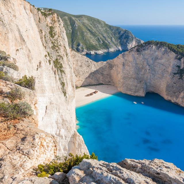 """Idyllic view of beautiful Navagio Beach on Zakynthos Island in G"" stock image"