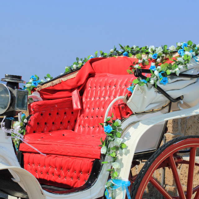 """""""Decorated wedding horse carriage by the sea in Greece"""" stock image"""