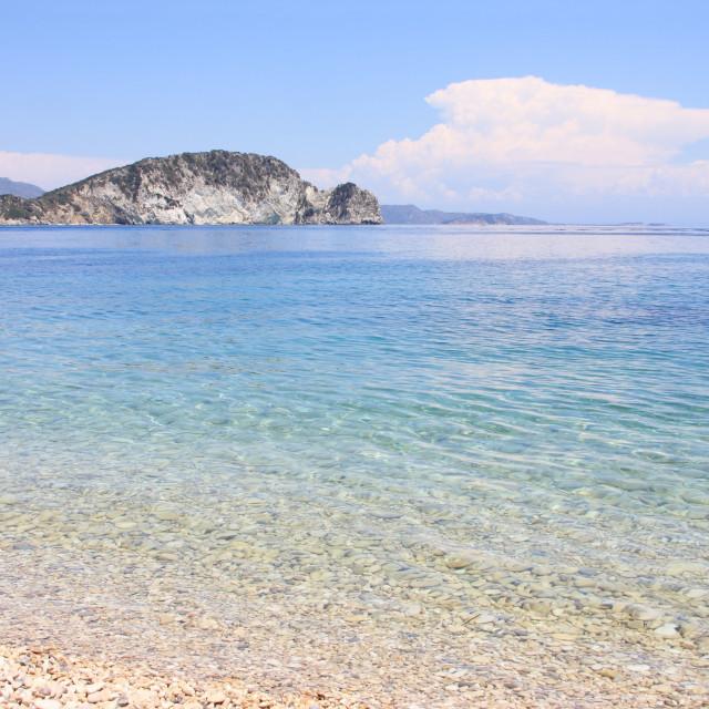 """Beautiful beach in Greece - Marathonisi island Zakynthos"" stock image"