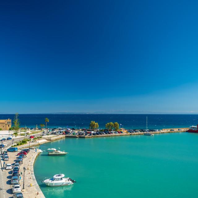 """Zante town harbor, Zakinthos Greece"" stock image"