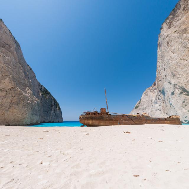 """The famous Shipwreck beach Zakynthos"" stock image"