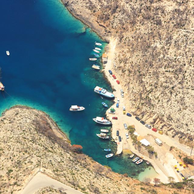 """Aerial view on Zakynthos island Greece"" stock image"