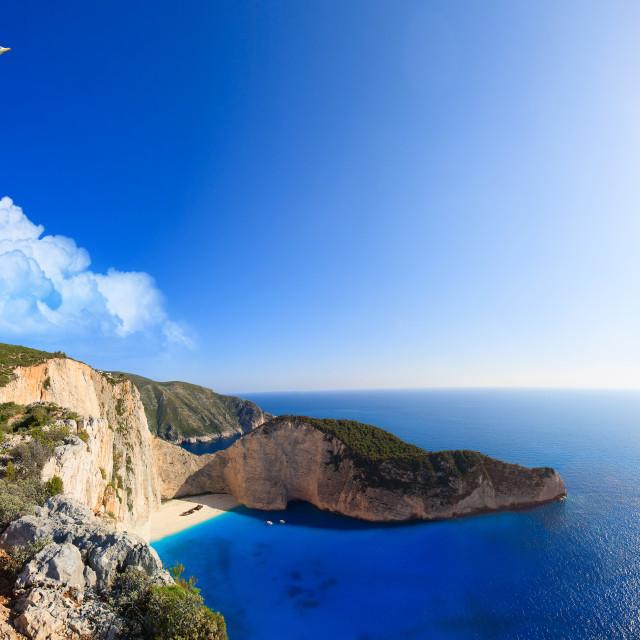 """Shipwreck Navagio beach in Zakynthos islan"" stock image"