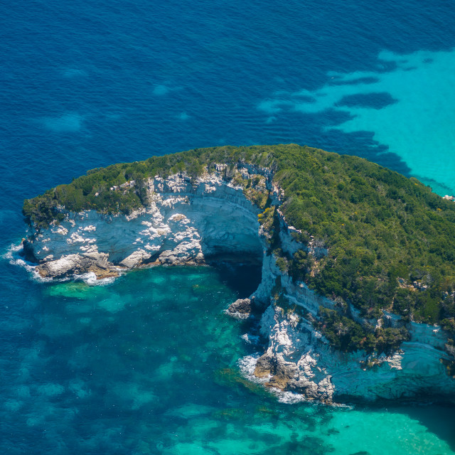 """""""Aerial view of Paxos island"""" stock image"""