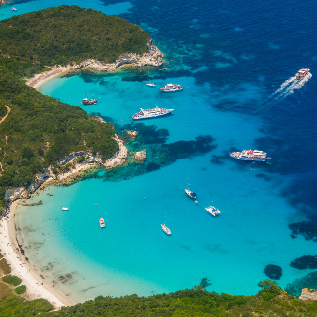 """""""Aerial view of Voutoumi beach in Paxos"""" stock image"""