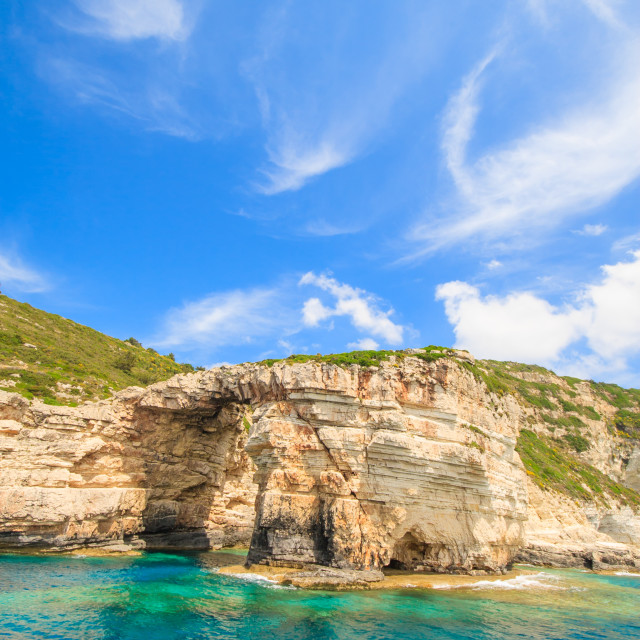 """""""Blue caves of Paxos island"""" stock image"""