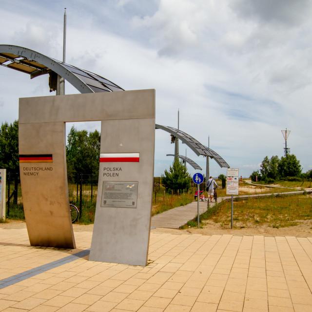 """Poland, Gemany Border Sign, Border between Ahlbeck, Germany and Swinoujscie, Poland."" stock image"
