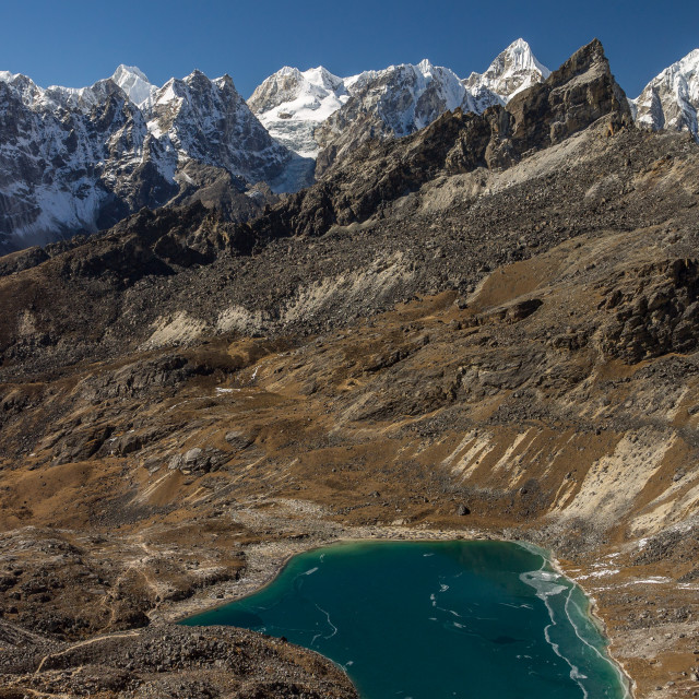 """Peaks of Rolwaling Himal and Angladumba Lake"" stock image"