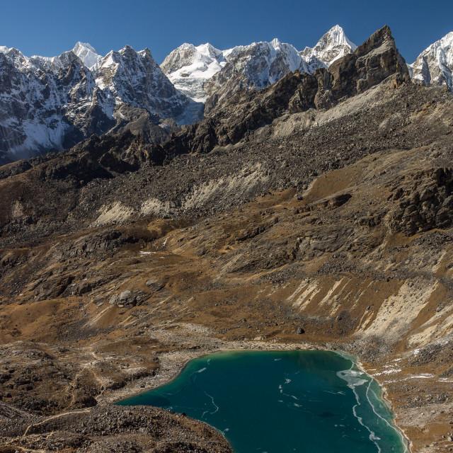 """Peaks of Rolwaling Himal and Angladumba Lake"" stock image"