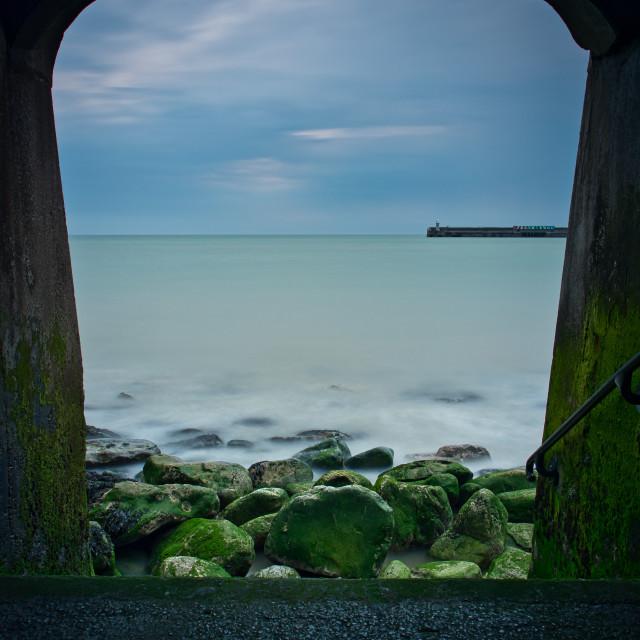 """The Sunny sands beach, Folkestone"" stock image"