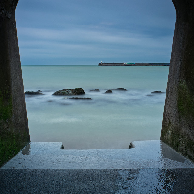 """The Sunny Sands Beach, Folkestone."" stock image"