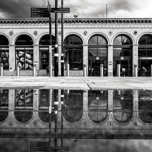 """Reflections Cambridge South Railway Station UK."" stock image"
