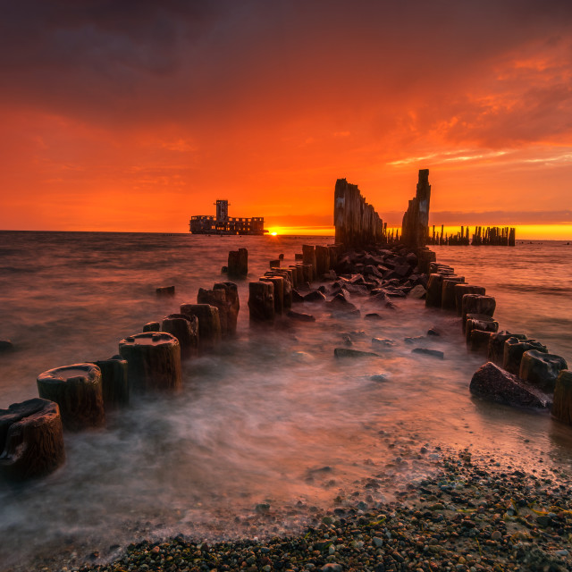 """Dramatic sunrise over the sea. Famous place on the Baltic coast,"" stock image"