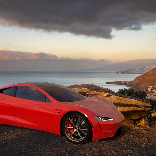 """2020 Tesla Roadster standing on the viewpoint in Tenerife"" stock image"