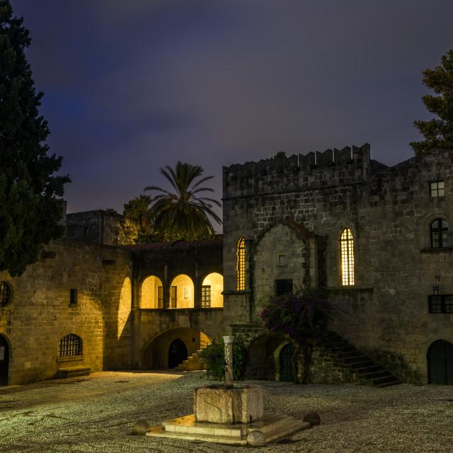 """Argirokastu square in the old town of Rhodes"" stock image"