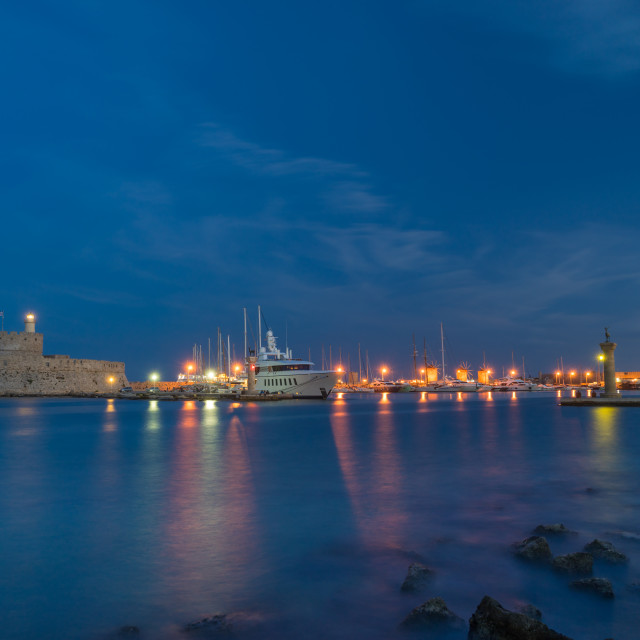 """Harbor entrance in RHodes island"" stock image"