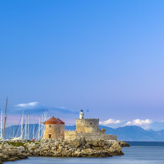 """""""Agios Nikolaos fortress on the Mandraki harbour of Rhodes"""" stock image"""