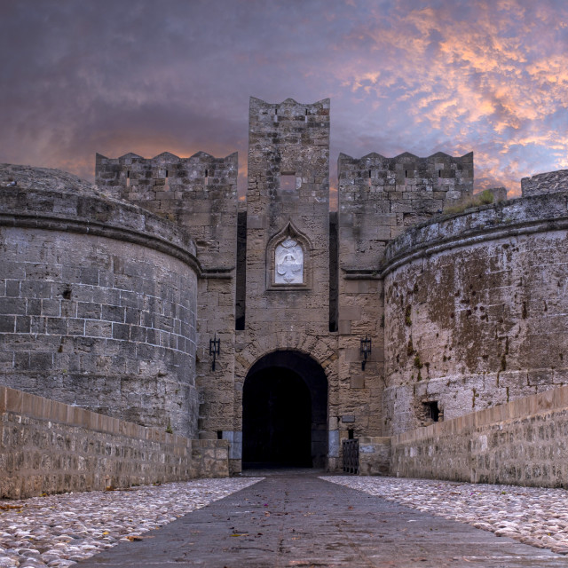 """""""Medieval Castle of the Knights old town of Rhodes Island"""" stock image"""