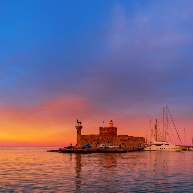 """""""Rhodes island in Greece at sunrise"""" stock image"""
