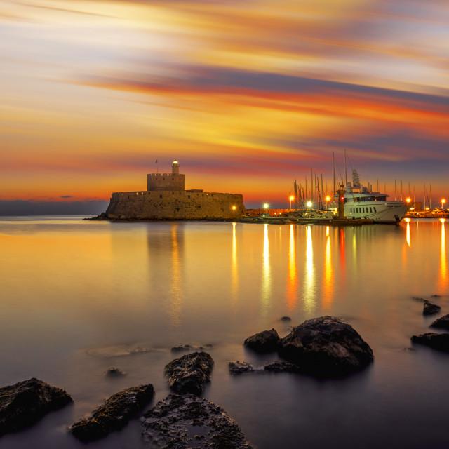 """""""Agios Nikolaos fortress on the Mandraki harbour of Rhodes Greece"""" stock image"""