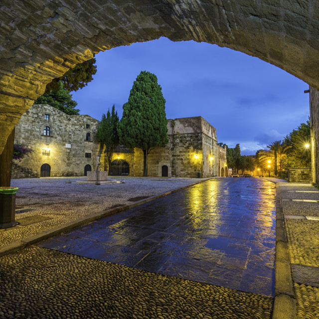 """""""Medieval street in the old town of Rhodes"""" stock image"""