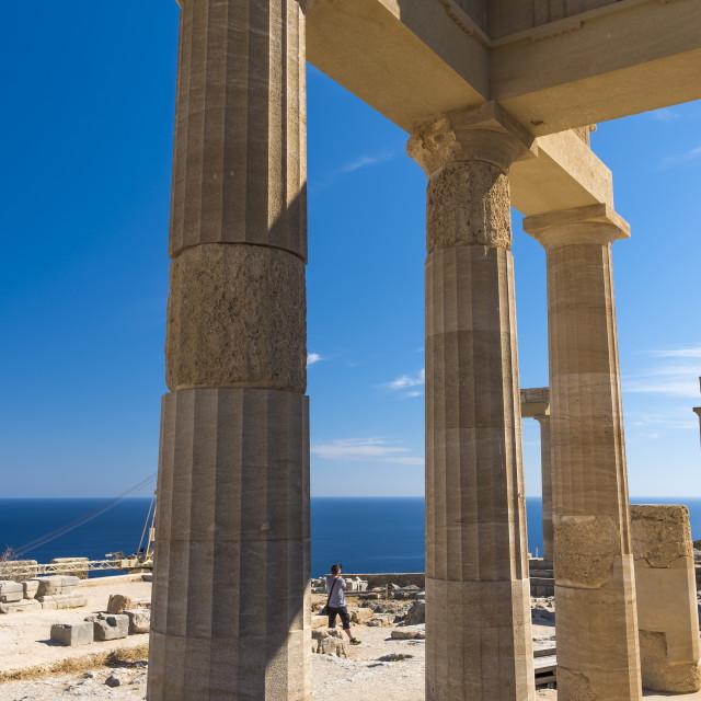 """Acropolis of Lindos on Rhodes island"" stock image"