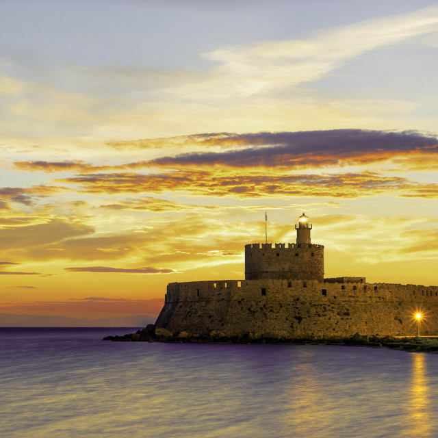 """""""fortress on the Mandraki harbour of Rhodes Greece"""" stock image"""